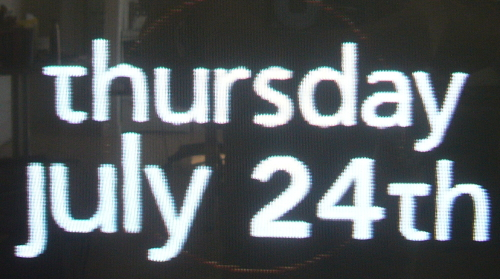 Snippet from TV screen shows a date typeset in one font